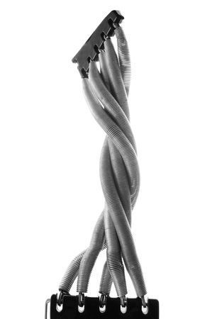 Exercise springs isolated on white background. This could also be attached to a human leg or arm to demonstrate artificial limbs.  photo