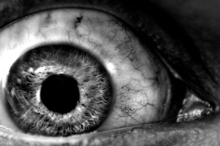 눈알: Abstract closeup of a dark eyeball wide open.