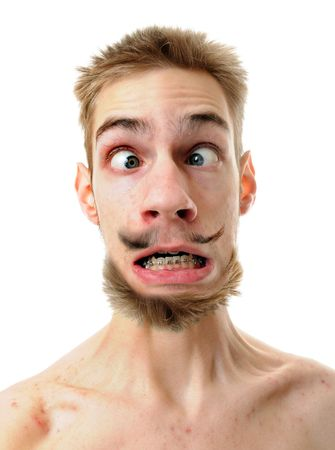 brown  eyed: A silly white male isolated on white background with his throat tenses up with his eyes crossed. He has a weird mustache and beard. Stock Photo