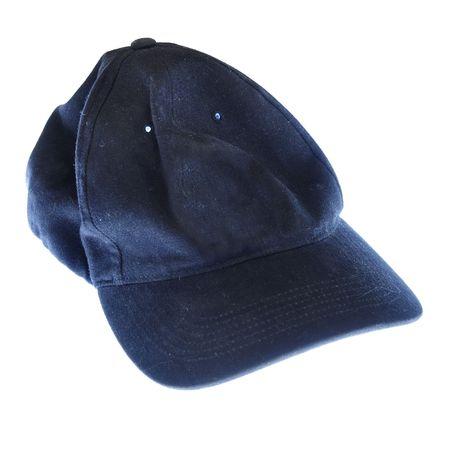 Plain black blank baseball cap hat isolated on white background. photo
