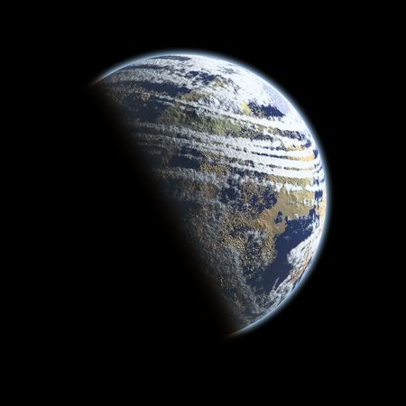 orbital: A planet that looks like the word, Earth, covered in shade halfway across isolated on black background space. Stock Photo