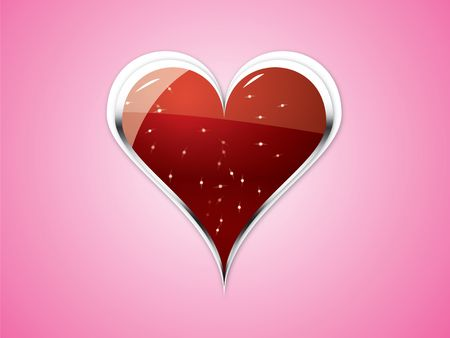 amorousness: A big strong illustrated heart on light pink background. Happy Valentines Day