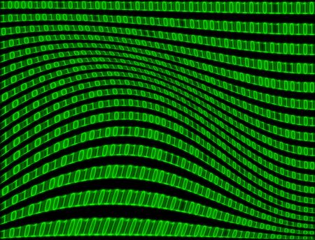 Pattern texture abstract background of binary computer language code in warped green text. photo