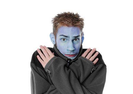 constipated: Hombre tiritera con una cara azul aislada sobre fondo blanco. J�venes blancos a adulto.