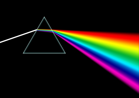 White light beam shines through a prism and then disperses the light into an entire rainbow color spectrum.
