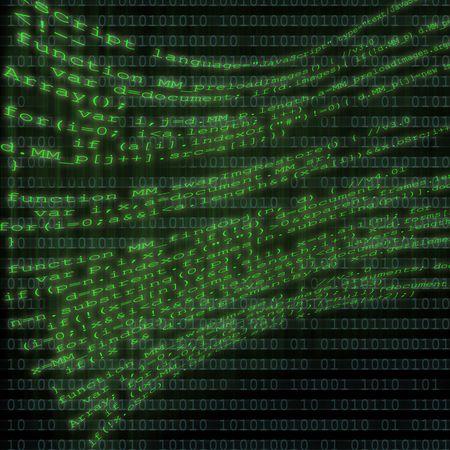 code computer: Un mont�n de c�digo html de equipo volando encima de un fondo de c�digo binario de equipo.  Foto de archivo