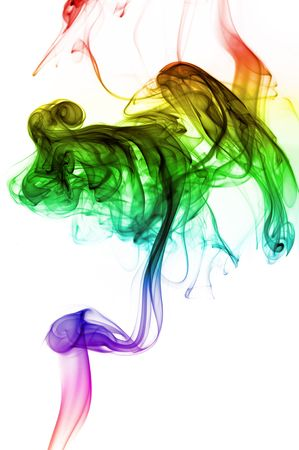 Smoke coming up from an incense stick over a white background with pretty colors on the fumes photo