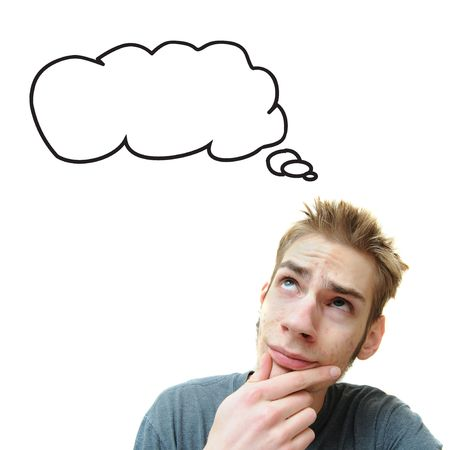 A young white male adult thinks in his think bubble caption. Isolated on white background.