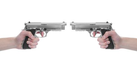 Hand holding a handgun pistol 357 Magnum isolated on white background. Deadly weapon photo