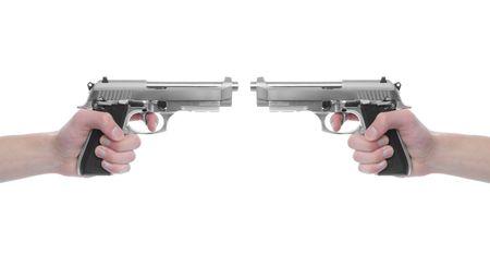 magnum: Main tenant un pistolet de poing que 357 Magnum isol�es sur fond blanc. Arme mortelle