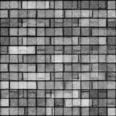 Clean black and white image of square abstract tiles in square frame