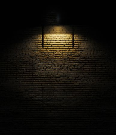Old rough brick wall background texture with a spotlight shining on it Stock Photo - 6533119