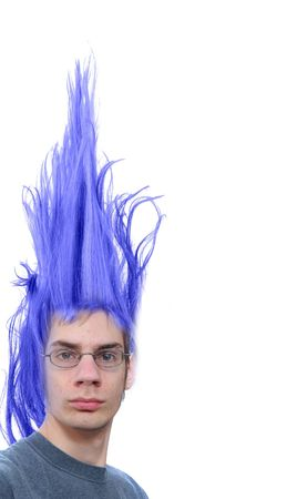 Crazy wacky young male Caucasian adult with purple hair that stands straight up