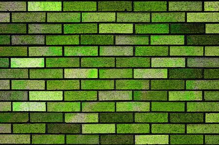 Clean colored acid green bricks wall background texture. Stock Photo - 6633866