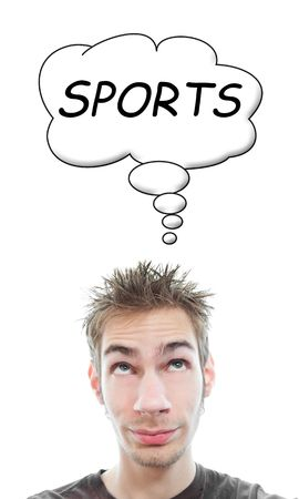smirk: Young white Caucasian male adult thinks about sports in his think bubble isolated on white background Stock Photo