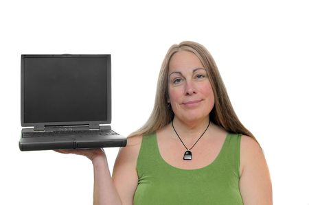 Attractive Woman holding laptop isolated on white background photo