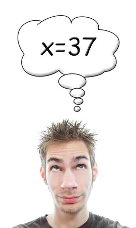 algorithmic: Smart young male white Caucasian student solves an algebra math problem in his head Stock Photo