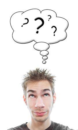 onbeantwoorde: Jonge witte blanke man volwassene heeft veel te veel vragen in zijn hoofd
