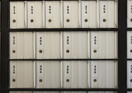 Post office boxes. These postoffice boxes are numbered with three digits and they are all closed photo