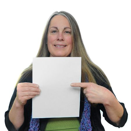 credentials: Woman holding a blank piece of paper with white blank empty copyspace on it with room for your text