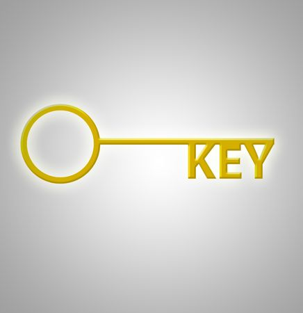 This is an illustration of the word Key as keys on a gold key