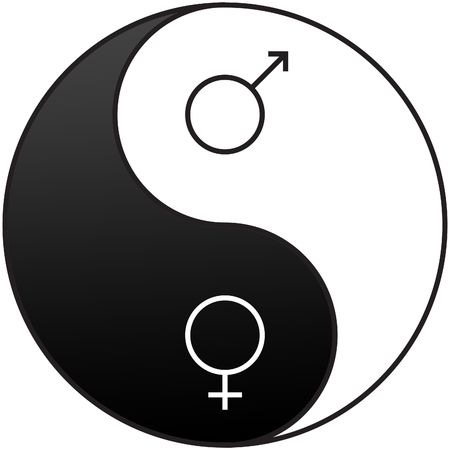 Gender symbols embedded on the Yin and Yang symbol used to demonstrate the opposite qualities of men and women Stock Photo - 6671903
