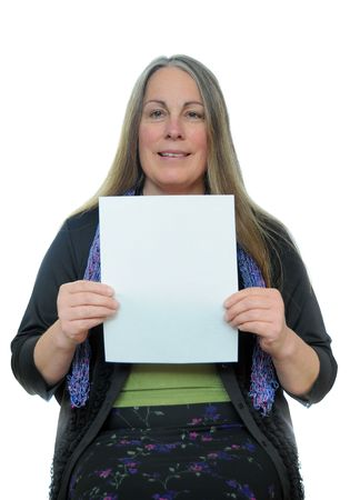 Woman holding a blank piece of paper with white blank empty copyspace on it with room for your text