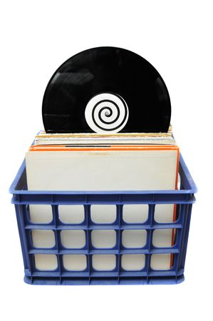 lp: Vinyl LP Record Collection in Crate. This is a popular choice for DJs to store their music