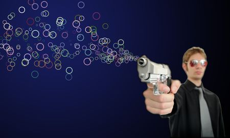 aviators: Young man holds his pistol out and shoots out bubbles