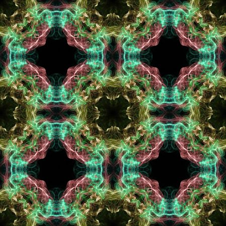 Abstract smoke tile pattern on black background in square frame photo