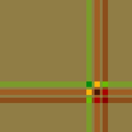 A seamless square pattern of green and brown lines that make squares