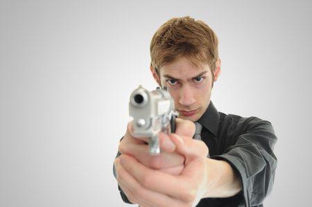 fbi: FBI CIA Undercover police secr�te brandit son arme � feu et le pr�t � tirer.