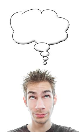 deadpan: Young white Caucasian adult man has an empty think bubble above his head with blank empty copyspace isolated on white background Stock Photo