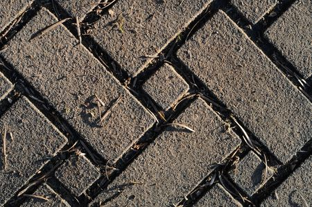 smut: Old Brick pattern in zigzag design with grass growing inbetween the cracks Stock Photo
