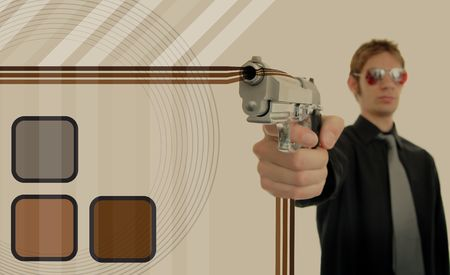 gunpoint: Retro 70s thug gangster holds his firearm up at gunpoint with oldschool brown graphic design patterns around him making a background