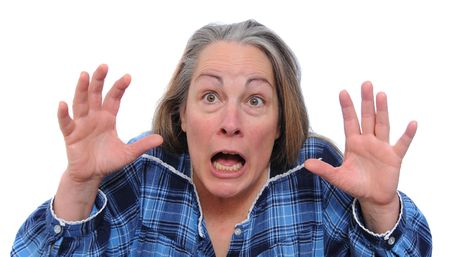 Terrified woman screaming for her life in shock and fear. Isolated on white background Stock Photo - 6791873
