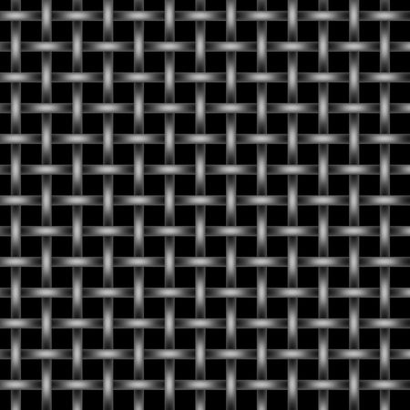 Silver and black metal wire mesh grid on black background photo