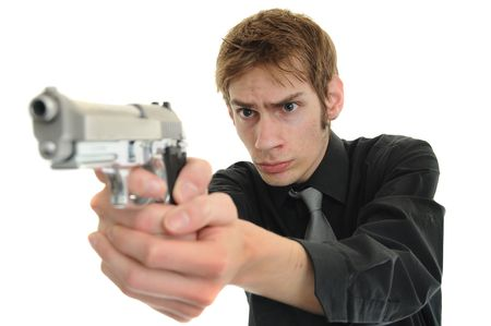 Undercover cop aims with his handgun pistol on white background.