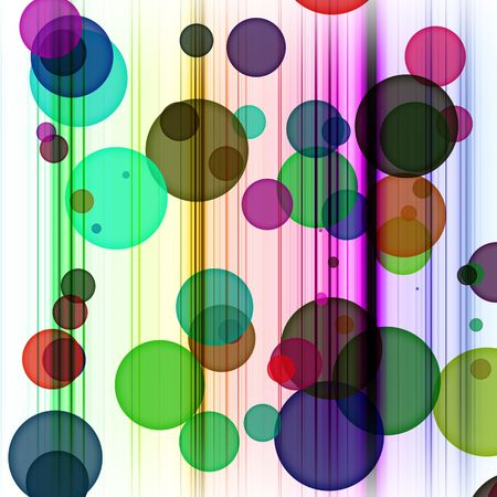 Abstract dots and lines with toxic rainbow colors on white background