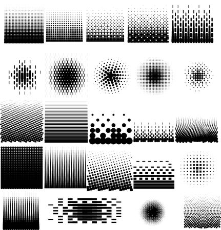 visual art: Collection set of different abstract halftone art elements. Dots, squares, and line patterns included. Stock Photo