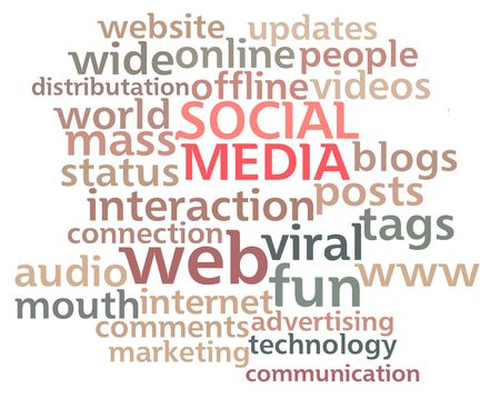 keywords: Social Media word cloud showing the main buzz keywords that happen around the web isolated on white background. Stock Photo