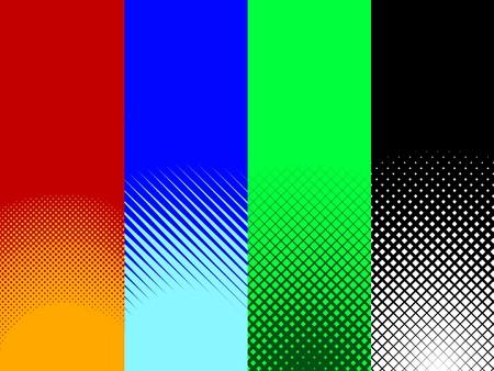 4 つの赤、青、緑、および黒のハーフトーン パターンのコレクション セット。