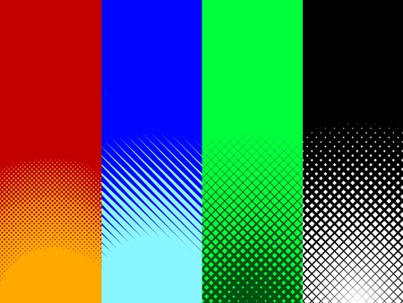 tones: A collection set of four red, blue, green, and black halftone patterns.