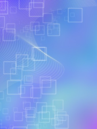 Modern tech background with blending of lines and outlined glowing squares on a blue and purple blurry background Stock Photo - 6894199