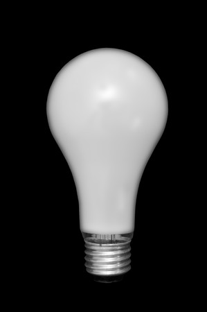 socle: White glossy light bulb isolated on black background. Stock Photo