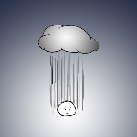 charactor: A sad and depressed cartoon charactor sighs as he gets rained on by a cloud right above him. Stock Photo