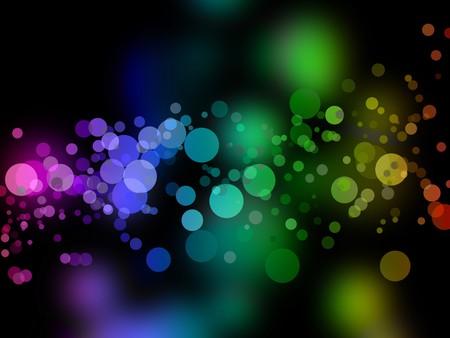 glittery: Dark rainbow bokeh background illustration. These also look like bubbles.