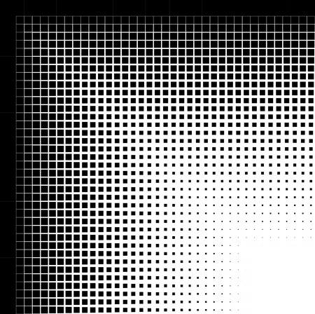 Abstract closeup of a circle with lines and squares as the halftone pattern. Usually halftone patterns are of dots or circles, but this with cut lines and squares. photo