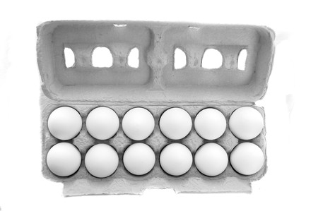 Dozen of Eggs in Egg cartion isolated on white background photo