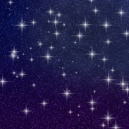 Abstract background of a dark blue and purple twilight star field graphic.
